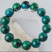 Wholesale Wholesale Azurite - Wholesale- Free shipping Fashion Jewelry 14mm Green Azurite Round Women Men Stretch Bracelet 1pcs G6223