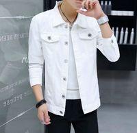 jeans longas da europa venda por atacado-Europa e nos Estados Unidos nova jaqueta jeans branca seção curta do casaco de manga longa lapela homens