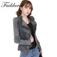 Wholesale Studded Jeans Short Woman - Women autumn casual Rivet zipper denim jacket slim coat Sharp Power Studded Shoulder Notched Lapel Denim Jeans Tuxedo Coat Blaz
