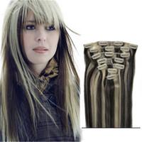 1b extensiones de cabello mixtas al por mayor-Mixed 2 Colors Tone 100% Hair 1b 613 Clip en extensiones de cabello humano 7 piezas