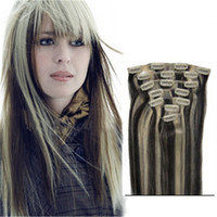 Dropshipping 1b 613 clip hair extensions uk free uk delivery on mixed 2 colors tone 100 human hair mixed 1b 613 clip in human hair extensions 7 pieces set uk pmusecretfo Choice Image