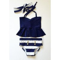 Wholesale Girls Boobs - Girl's three-piece bikini Swimwear Infants Girls Swimsuit Ruffle boob tube top+bowknot Headband+trunks Princess kids cute swimwear set