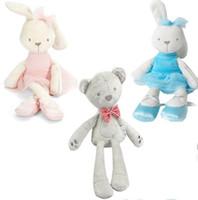 lindo animal elefante al por mayor-Bebé de peluche juguetes de peluche 9 estilos Kids Bunny Bear Elephant Dolls Cute Animals Kids Sleep Comfort Toy Animales Regalo de Año Nuevo