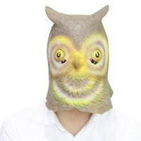 ingrosso maschera di gufo del gufo-All'ingrosso 2017 di alta qualità spaventoso full head gufo in lattice maschera per adulti halloween masquerade cosplay costume testa animale puntelli spedizione gratuita