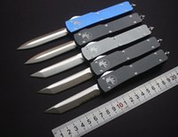 Wholesale Self Defense High - High quality Microtech Ultratech D E T E blade out the front Combat Tactical Knife( CNC D2 steel ) 6061-T6 aluminum handle EDC Pocket knives