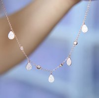 Wholesale pure gold necklace chain - 2017 925 silver Fashion Jewelry Women drip cz Silver Necklace Pendants 925 pure rose gold color fine jewelry crystal necklaces