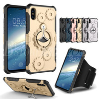 Wholesale gear case cover - Mechanical Gear TPU+PC hybrid Case Sports Running Armband Stand Holder Cover Armor Cases For iPhone X 7 6 Plus Samsung S9 S8 Plus