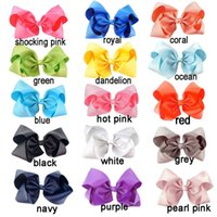 Wholesale Lace Accessories Fabric - 8 inch 60 Color Girls Big Knot Bow Hairdbands Kids Girl Pom Pom Hair Bow With Alligator Clips Fabric Ribbon Children Hair Accessory