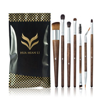 Wholesale portable lip brush - Huamianli Wooden Handle 7pcs Makeup Cosmetic Brushes Set Powder Foundation Eyeshadow Lip Brush Tool Portable Cosmetic Tool