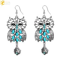 Wholesale Turquoise Fish Earrings - CSJA Owl Shaped 925 Silver Color Fish Hooks Earrings Dangles Chandelier Blue Turquoise Gemstone Beads Charms Pendant Jewelry Hot Sale E510