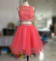 Wholesale Lilac Short Dress Uk - Real Photo Coral Short Prom Dresses 2017 Applique Lace Beading Crystal Two 2 Piece Prom Dress Homecoming Cocktail Gowns Party Gown USA UK