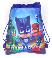 Wholesale Cartoon String Backpacks - 24pcs Cartoon PJMASKS Draw string Bag Non-Woven Drawstring Bag Kids Backpacks Birthday Theme Gift Bags Travel Storage Bags