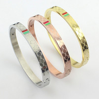 Wholesale Gold Bracelets For Ladies - 316L stainless steel brand love bracelets bangles for women wholesale red and green stripes Ladies Buckle bracelet three drops