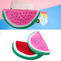 Wholesale- Women Watermelon Soft Peluche Sac Cosmétique Coin Portefeuille sac à main Sac à main Crayon