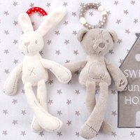 Wholesale Doll Prams - Wholesale- cute Baby Crib Stroller Toy Rabbit Bunny Bear Soft Plush infant Doll Mobile Bed Pram kid Animal Hanging Ring Ring Color Random
