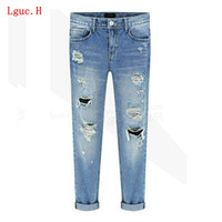 Wholesale Paints Female Jeans - Wholesale- Lguc.H Unique Fashion Women Ripped Vintage Blue Jeans for Spring Summer Autumn Female Loose Casual Pencil Pants Cotton 31 2017