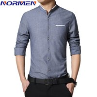 Wholesale collar bands - Wholesale- New Brand Men's Casual Shirt Long Sleeve Banded Collar Easy Care Collarless Shirts Slim Fit Dress Shirt For Men Business