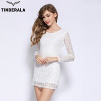 Wholesale Sexy Hollow Slim Lace Dress - TINDERALA 2017 lace sexy club dress long sleeve slim hollow floral party Bodycon Bandage Dresses black and white