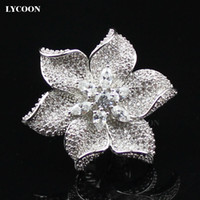 Newest fashion Platinum plated with big Austria big white Cubic Zirconia wedding Rings for women luxury flower style Party Engagement ring