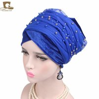 Wholesale Turbans Hats Scarves - New Luxury Mass Gold Beaded Mesh Head wrap Velvet Nigerian Turban Women Hijab Extra Long Head scarf Headscarf Turbante