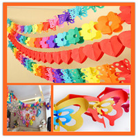 Wholesale Honeycomb Paper Garland - Wholesale- Wedding Decoration 3M Colorful Cartoon Animal Paper Garland Honeycomb Ball Striped Paper Flags Banner Birthday Party Supplies 6z