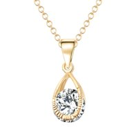 Wholesale Zircon Gemstone Necklace - Gold Angel Zircon Necklace 2-color optional Clothing accessories Fashion hanging chain Long Chain Necklace Gemstone pendant