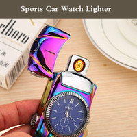 Wholesale blue light sensor - Intelligent Electric Lighter windproof USB type Ci-garette lighter sensor rechargeable metal watch sports car novetly lighter