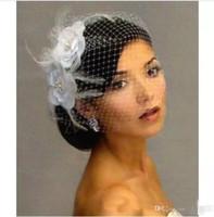 Wholesale Vintage Birdcage Veils - Vintage Beaded Birdcage Veils for Bride White Flower Bridal Veil Handmade Headpiece Head Veil Cheap Wedding Bridal Accessories Wedding Veils