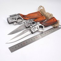 Wholesale AK47 RIFLE Gun Shaped Automatic Folding Knives Blade Pakka Wood Handle Pocket Tactical Camping Outdoors Survival Knives With LED Light