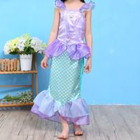 Wholesale Sleeveless For Summer Cartoon - Girls Cute Cartoon Mermaid Dresses Sleeveless Ankle Length Performance Costume Dresses for Children Contrast Color Dresses