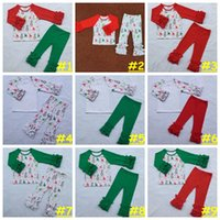 Wholesale 24 Month Christmas Outfit - Kids Girl Christmas Outfit Baby girl Coming home Sets Autumn Winter Moose Snowflake pattern cloth Ruffle Raglan Shirts pants 9styles