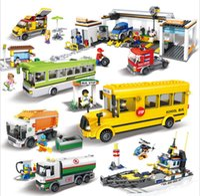Wholesale Bus Block Sets - New Hsanhe Mini City Car Series School Bus Model Building Blocks City Tram Set Bricks DIY 3D Motorboat Educational Car Toys
