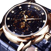 Wholesale Rhinstone Watches - Fashion Rhinstone Skeleton Design Black Golden Skeleton Watch Men Automatic Watch Horloge Erkek Saat Male Clock Men Orologio Uomo