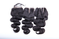 Wholesale H Closure - DHgate sale Free shipping Top Closure 4''x3.5'' (H L) Slightly Bleached Knots Mongolian Hair Hand Tied Free Parted Lace Closure