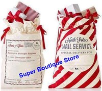 Wholesale Gift Bag Present - 2017 new arrival striped envelop canvas santa sack Christmas drawstring gift bags kids candy bag indoor decoration X-mas presents