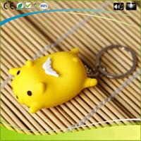 Wholesale Fly Key - Cartoon Flying Pig Model Music Led Light Keyring Glow Key Chain Action Figure for Children Kid Toys Gift