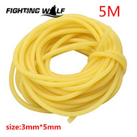 Wholesale Slingshot Replacement Bands - 5M Sporing Natural Latex Tube Slingshot 3mmX5mm Yellow Color Replacement Band for Hunting Sling Shot Catapults Sling Rubber for sports.