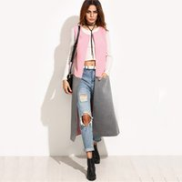 Wholesale Collarless Womens Coats - Womens Casual Outerwear Coats Ladies Autumn Multicolor Contrast Collarless One Button