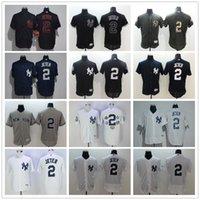 Wholesale Grey Pinstripe - 2017 New York Yankees 2 Derek Jeter Jersey NY White Pinstripe Grey Dark Blue Black Flexbase Collection Cool Base Baseball Jerseys