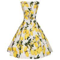 2017 Vintage Women Summer Dresses 50s 60s Lemon Printed Sleeveless Tank  Party Big Swing Rockabilly Dress Pinup Vestido with Belt 6d4db84a8757
