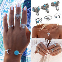 Wholesale Vintage Silver Snake Ring - Bohemian Style 6pcs Set Vintage Anti Silver Color Rings Elephant Snake Heart Rings Set For Women Girl Charm Gift Jewelry Accessories D7S