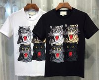 Wholesale Leopard Print Shirt Xxl - Active Summer T-shirts Men Leopard Shirt White 2017 Fashion New Tshirt O-Neck Cotton Mens Tops Tees White M-XXL