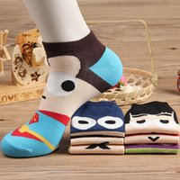 Wholesale Knitting Combs - 20pcs=10pair Super hero cartoon socks combed cotton socks and breathable cotton socks for men and women fashion lovers Sweat