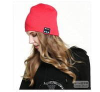 Wholesale headset decorations - Hot Men Women Soft Winter Beanie Hats Wireless Bluetooth Smart Cap Headphone Headset Speaker Mic Headgear Knitted Cap More Colour