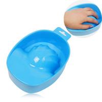 Wholesale Hand Soaks Manicures - 1Pc Nail Art Soak Bowl DIY Salon Nail SPA Bath Manicure Tool Polish Gel Remover Hand Wash Soak Bowl Cleaner Color Random