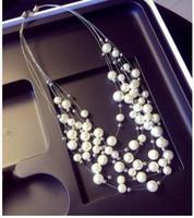 Wholesale Multi Level Necklace - Irregular diamond crystal necklace multi-level pearl sweater chain female accessories pendant necklace