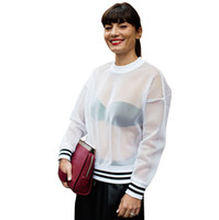 Wholesale white long sleeved blouse women online - Classic black and white hit color rib mesh T shirt Hollow Out autumn long sleeved loose perspective mesh blouse