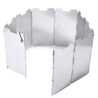 outdoor camping placas venda por atacado-Wind Shield Durable 9 Placa Dobrável Ao Ar Livre de Acampamento de Cozinha Fogão Fogão A Gás Escudo de Vento Tela Windshield Equipamentos de Camping + B