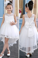 Wholesale Elegant Baby Girl Dress Pictures - elegant baby girl cute asymmetric O Neck Lace solid mesh long tail flower girl dress tutu wedding party backless trailing ball gown dress