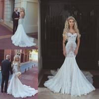 Wholesale Slim Wedding Dress Full Sleeve - Arabic Sexy Full Lace Mermaid Wedding Dresses off the Shoulder Sweetheart Slim Bridal Gowns Custom Made vestidos de novia